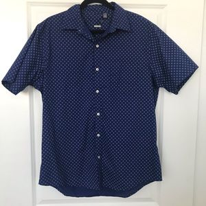 Navy blue classic fit short sleeve button up L